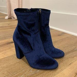 Steve Madden blue velvet booties